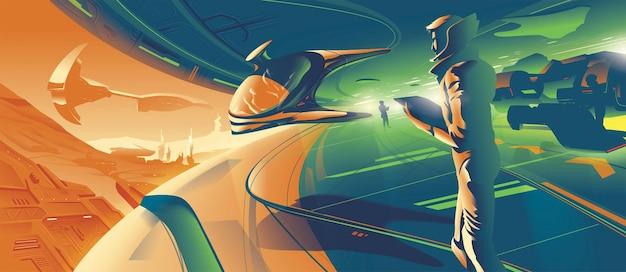 Kolonia na marsie w 2079 roku zawiera osobisty latający statek wlatujący do garażu