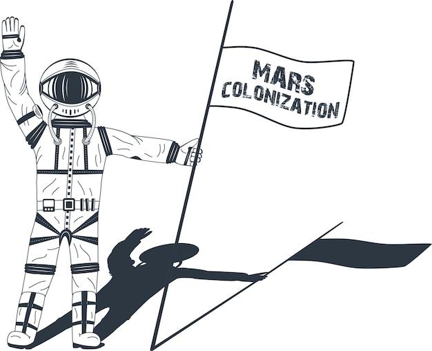 Kolonizacja marsa. astronauta na planecie. kolorowy plakat, ilustracja