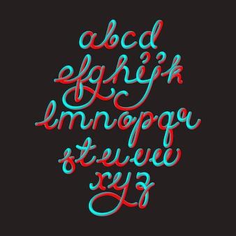 Kolor 3d alfabet wektor czcionki potoku na czarnej przestrzeni