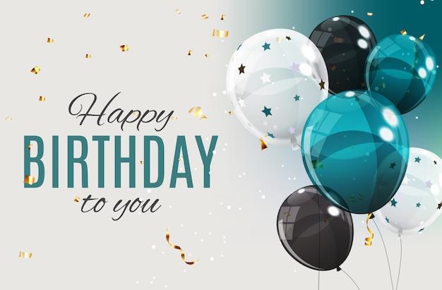 Kolor balony z okazji urodzin szczęśliwy błyszczący ilustracja