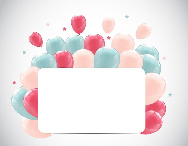 Kolor błyszczący balony z okazji urodzin tło transparent il