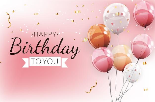 Kolor błyszczący szczęśliwy urodziny balony transparent tło ilustracji