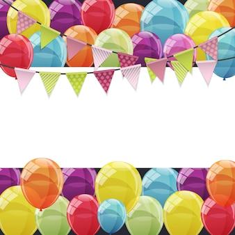 Kolor błyszczący szczęśliwy urodziny balony transparent tło wektor il
