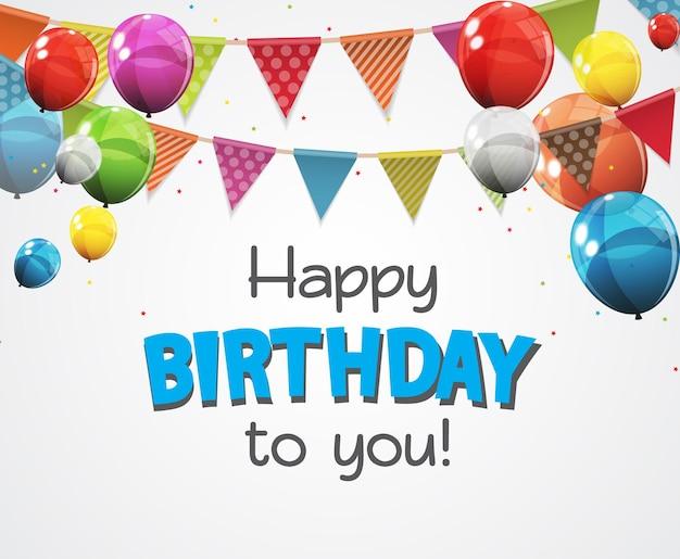 Kolor błyszczący szczęśliwy urodziny balony transparent tło wektor ilustracja
