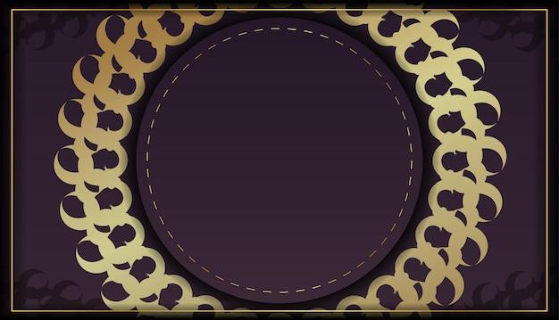 Kolor bordowy szablon pocztówka z ornamentem mandali złota dla swojego projektu.