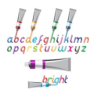 Kolor czcionki i tuby z farbą. płynne, błyszczące, jasne kolorowe litery