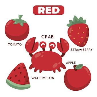 Kolor czerwony i słownictwo ustawione w języku angielskim