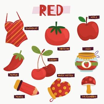 Kolor czerwony i zbiór słownictwa w języku angielskim