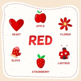 Kolor czerwony z pakietem słownictwa w języku angielskim