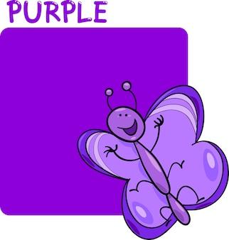 Kolor fioletowy i kreskówka motyl