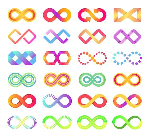 Kolor ikona nieskończoności nieskończonej pętli symbol logo niekończąca się strzałka łańcuchy znak abstrakcyjny zestaw wektorów wieczności