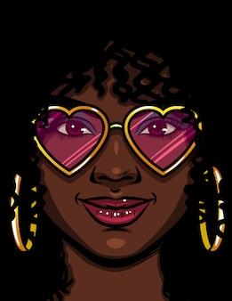 Kolor ilustracji wektorowych african american kobieta w różowych okularach. szczęśliwa kobieta zakochana. twarz pięknej kobiety z makijażem i kręconymi włosami. kobieta z okrągłymi złotymi kolczykami i okularami w kształcie serca