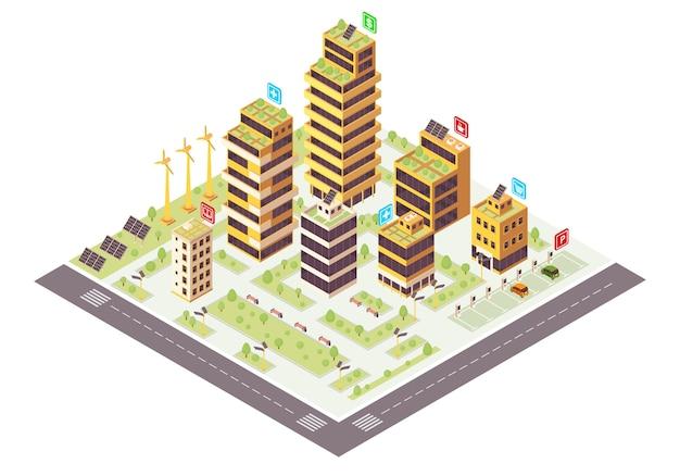 Kolor izometryczny miasta eco. plansza budynków komercyjnych. produkcja energii odnawialnej. inteligentne miasto koncepcja 3d. ekologiczne, zrównoważone środowisko. izolowany element projektu