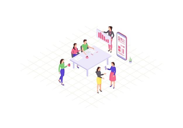 Kolor izometryczny pracy zespołowej. prezentacja biznesowa. coworking. plansza spotkania firmowego. raport roczny koncepcja 3d. dyskusja na temat strategii marketingowej. strona internetowa, projekt aplikacji mobilnej