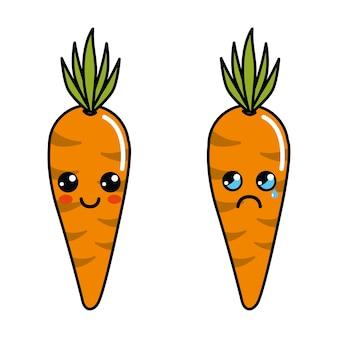 Kolor kawaii szczęśliwy i płakać ikona marchewki