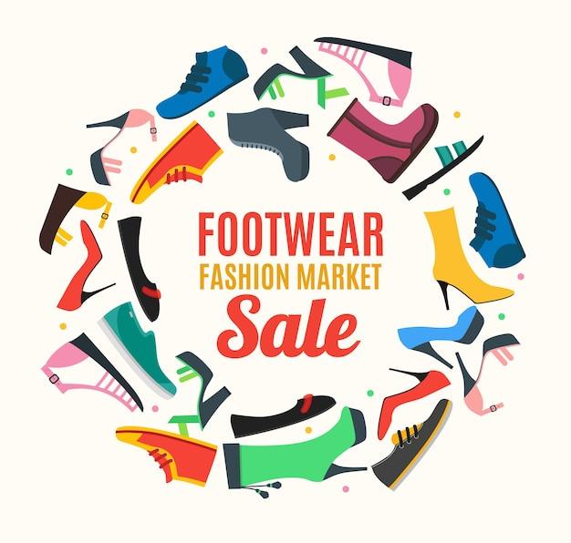 Kolor kobieta buty okrągły projekt szablon karta banerowa moda sezonowe zakupy płaska konstrukcja styl