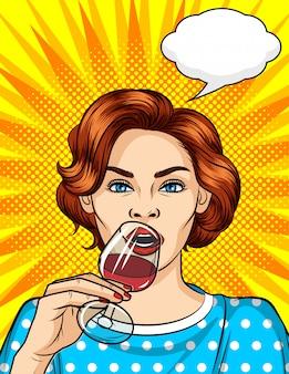 Kolor komiks ilustracja pop-artu. piękna kobieta pije alkohol.