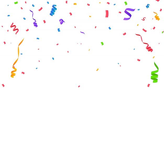 Kolor konfetti na białym tle. ilustracja wektorowa