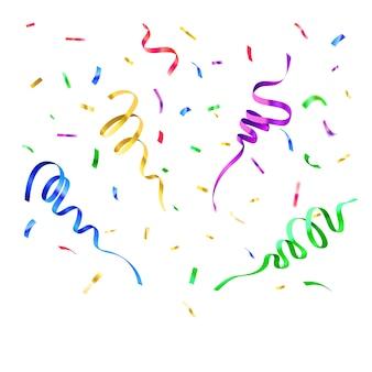 Kolor konfetti papieru. wystrój urodzinowy, spadające papiery karnawałowe na białym tle