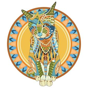 Kolor kot ilustracja wektorowa na białym tle.