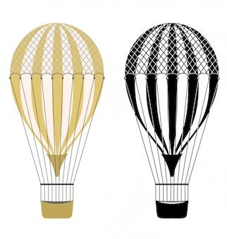 Kolor kreskówka i czarno-białe balony. balony na gorące powietrze. aerostat na białym tle. transport lotniczy aerostatu, balon, ilustracja balonowa podróż