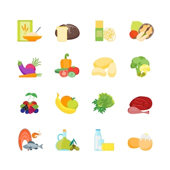 Kolor kreskówka zestaw zdrowej żywności odżywianie diety dla stylu płaska konstrukcja zdrowia