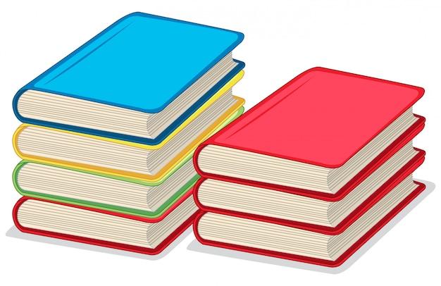 Kolor książek do czytania i szkoły na białym tle