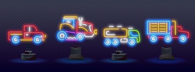 Kolor neon linii ikona ciągnika na białym tle na czarnym tle