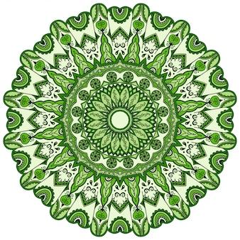Kolor okrągły ozdobny ornament w etnicznym stylu orientalnym, w formie mandali z dekoracją kwiatową. kontur doodle ręcznie rysować ilustracja.
