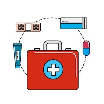 Kolor opieki zdrowotnej, ikona narzędzia leków
