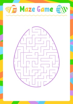 Kolor owalny labirynt. arkusze dla dzieci. strona aktywności. gra logiczna dla dzieci.