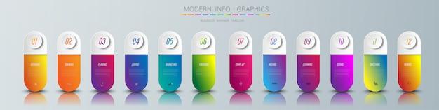 Kolor papieru origami wykresu w szablonie grafiki wektorowej do prezentacji diagramu wykres i koncepcja biznesowa z 12 opcjami elementu
