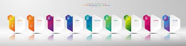 Kolor papieru origami wykresu w szablonie grafiki wektorowej do prezentacji diagramu wykres i koncepcja biznesowa z 9 opcjami elementu