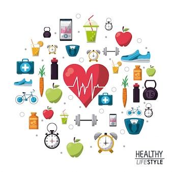 Kolor plakat elementy zdrowego stylu życia ikony