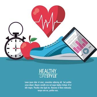 Kolor plakat elementy zdrowego stylu życia
