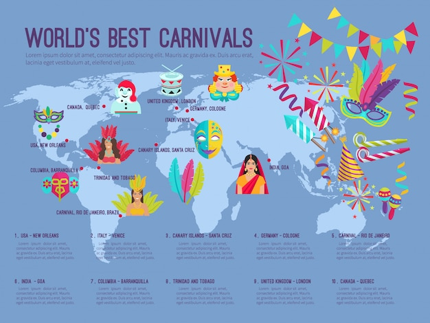 Kolor płaski infografika przedstawiająca na światach najlepszych karnawałów z ikonami ilustracji wektorowych