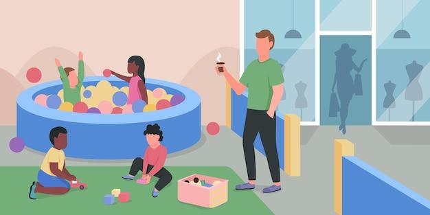 Kolor płaski plac zabaw dla centrum handlowego. dzieci bawiące się w basenie z plastikowymi kulkami. dzieci i dorosły opiekun postaci z kreskówek 2d ze strefą zabaw