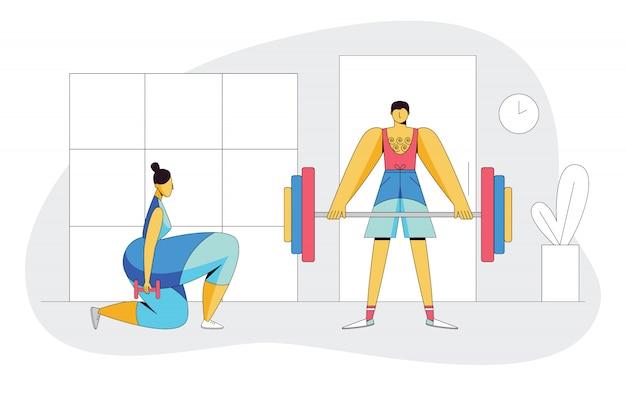 Kolor płaski styl ilustracji osób wykonujących razem. para pracująca na siłowni.