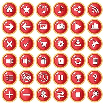 Kolor przycisku czerwony obramowanie złota na plastik w stylu gry.