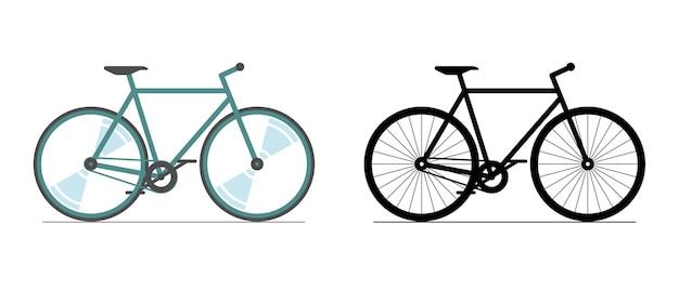 Kolor rowerów i czarny zestaw ikon. koło rowerowe kolorowy znak sylwetka na białym tle. ilustracja wektorowa symbol pojazdu transportu miasta rower