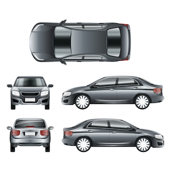 Kolor samochodu sedan w różnych punktach widzenia