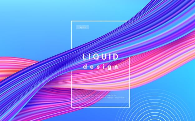Kolor tła fali. ilustracja projekt 3d farby przepływ cieczy. koncepcja sztuki geometrycznej dynamiczny falisty kolor atramentu.