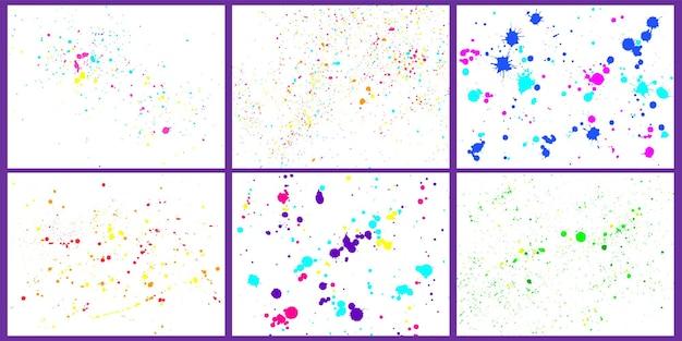 Kolor tła rozpryski farby. maluj jasne plamy i krople. zestaw kleksów ozdobnych streszczenie szczotka. plamy i plamy na białym. ilustracja wektorowa kolorowe brudne akwarela ikonami