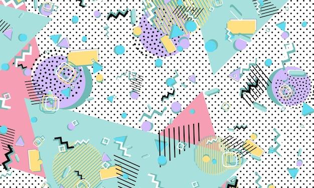 Kolor tła. styl memphis. funky abstrakcyjny wzór. elementy geometryczne. ilustracja wektorowa.