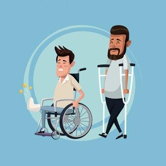 Kolor tła zestaw mężczyzn w wózku inwalidzkim i kulach