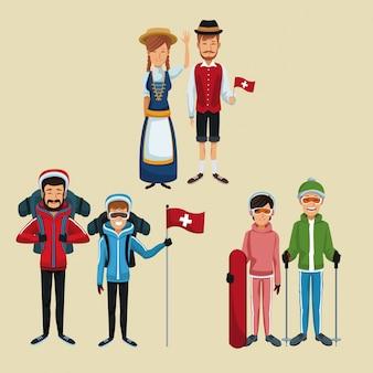 Kolor tła zestaw turystyczny i tradycyjnych ludzi szwajcaria