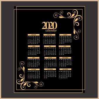Kolor vintage kalendarz 2020
