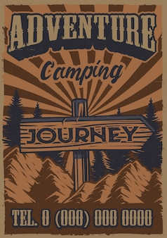 Kolor vintage plakat na temat kempingu ze znakiem drogowym na tle gór.