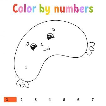 Kolor według liczb. kolorowanka dla dzieci. ilustracja. postać z kreskówki.