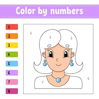 Kolor według liczb. piękna dziewczyna. arkusz aktywności. gra dla dzieci.